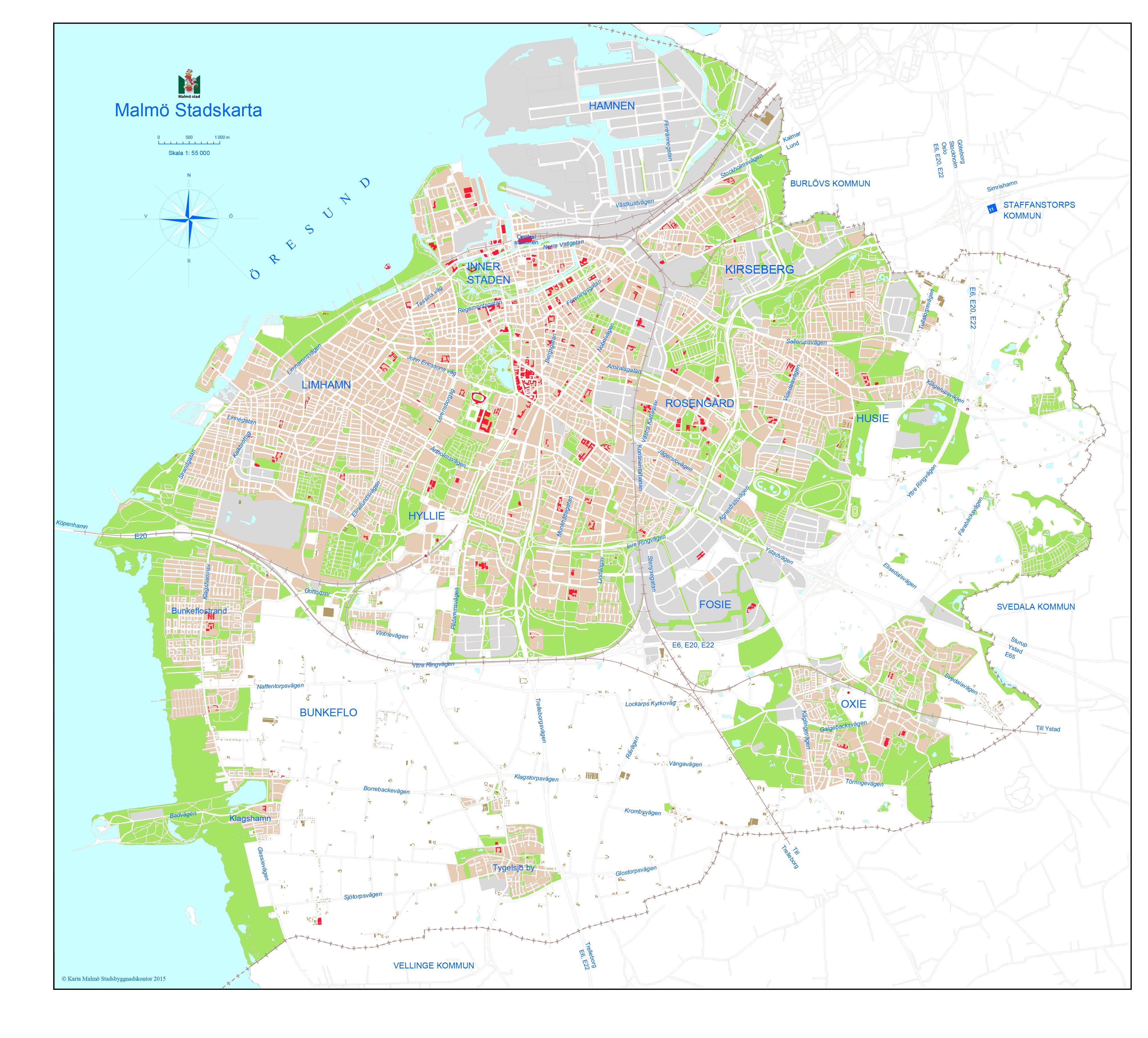 karta malmö Stadskarta   Malmö stad karta malmö